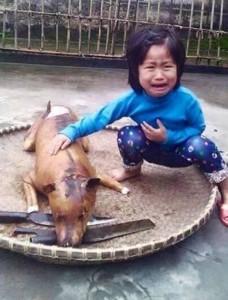 Little girl cries