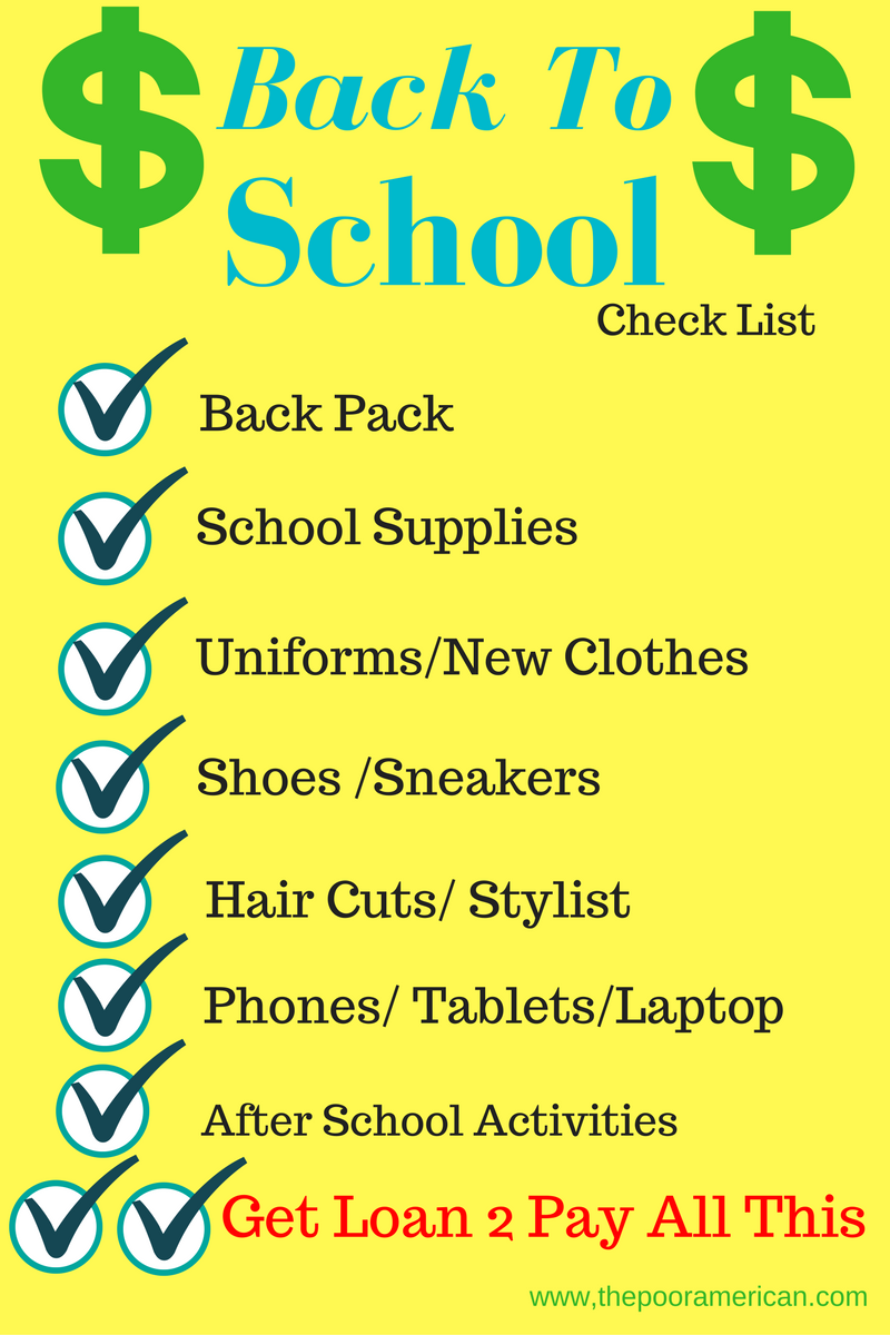 Back 2 School Checklist